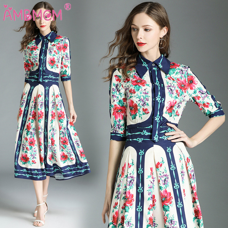2018 nouveauté mode piste été robe femmes demi manches robes élégantes imprimé Floral Vintage robe AMBMCM