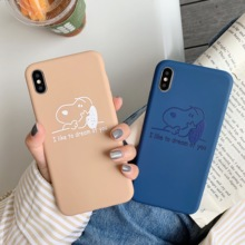 Blue and brown cartoon   cute  puppy  Snoopy  phone case for iPhone 6S 6 7 8 PLUS for iPhone X XR XS MAX  simple  creative  case недорго, оригинальная цена
