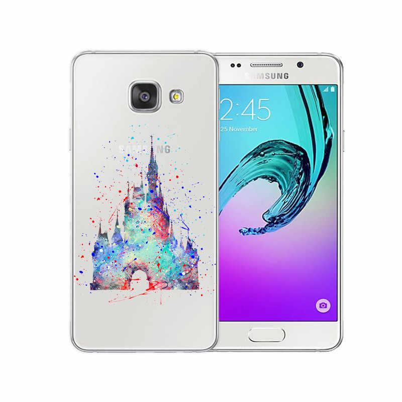 Aquarela tinkerbell mickey minne ponto sereia princesa tpu macio caso de telefone para samsung galaxy a3 a5 a7 j1 j5 j7 2016 2017