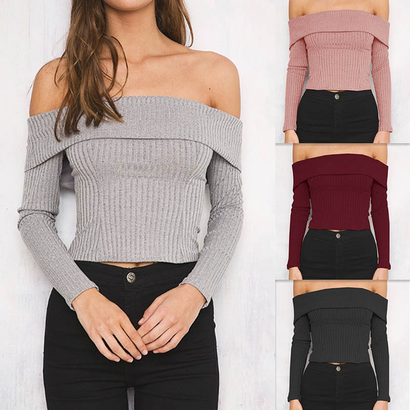 Women Knitted Off Shoulder Tops Sexy Strapless Tight Long Sleeve Sweaters H9