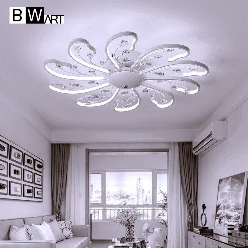 BWART Modern Led Chandelier For Living Room Bedroom Dining Aluminum Body With Crystal Indoor Ceiling