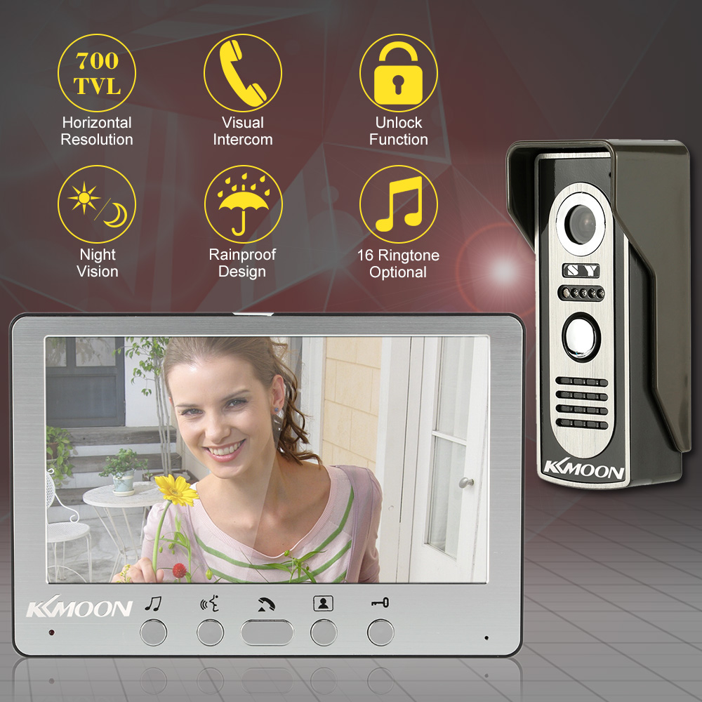 700TVL KKmoon 7'' Visual Doorbell Intercom with Outdoor Monitoring and Camera Support 2