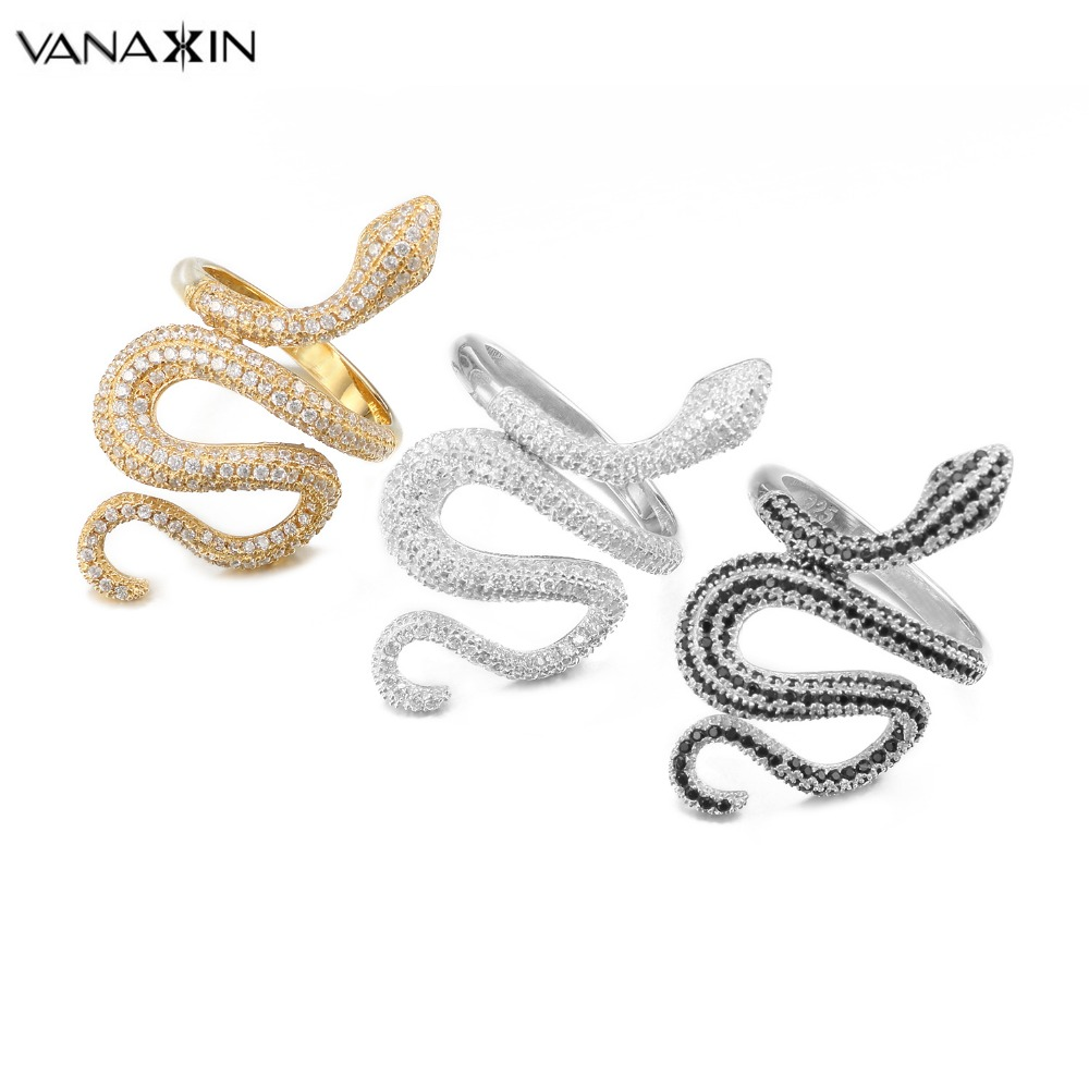 VANAXIN Fashion Snake Rings For Women Punk Rock 925 Silver Ring Jewelry CZ Zircons Paved Shiny Party Gift Animal Wholesale Jewel