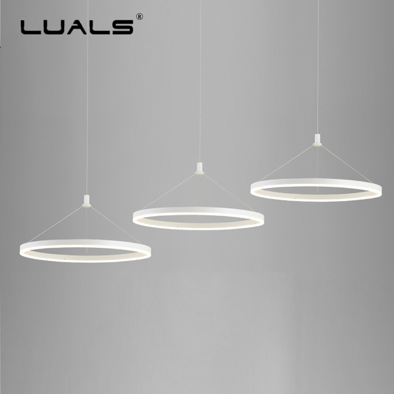 Modern Hanging Lamps Simple Ring Suspension Luminaire Nordic Pendant Light PC Lamp Shade Hanging Lights Indoor Art LED Lighting dia 72cm 75cm designer lighting etch shade suspension pendant lamps golden stainless steel shade pendant lights