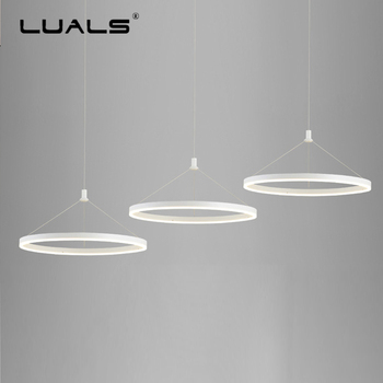 Modern Hanging Lamps Simple Ring Suspension Luminaire Nordic Pendant Light PC Lamp Shade Hanging Lights Indoor Art LED Lighting
