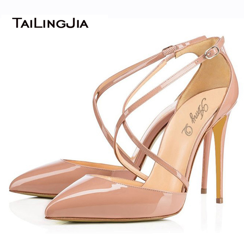 2016 Elegant font b Women b font Nude Patent Leather Cross Band Buckle Strap High Heel
