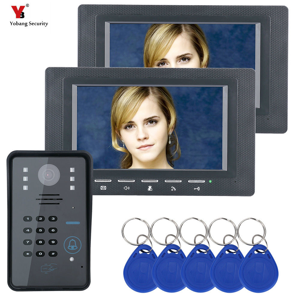 Yobang Security 7 inch 2 Monitor RFID Password Video Door Phone Intercom Doorbell With IR Camera 1000TV Line Access Control Syst yobang security freeship 7 video intercom for villa 2 monitor doorbell camera with 5pcs rfid cards hd doorbell camera in stock