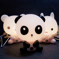 LED Desk Night Lights Panda Rabbit Dog Bear Cartoon Baby Room Nightlights Kids Bed Lamp SleepingTable