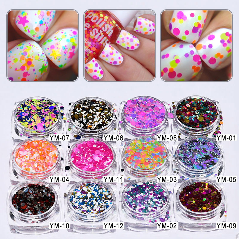 Nails Art & Werkzeuge # # Ym01-12 5 Ml/jar 12 Gläser/lot 1mm 2mm 3mm Gemischte Glitter Nagel Holographic Glitter Acryl Glitter Mischt Holo Pailletten Runde Glitter