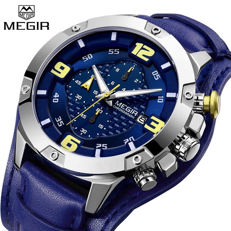 Reloj hombre 2019 MEGIR Men's Luxury Sport Quartz Watches Top Brand Luxury Male Military Chronograph Wristwatch Leather Watches