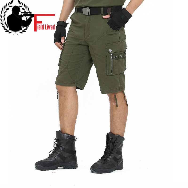 2020 Long Cargo Shorts Men Brand Men's Military Capris Summer Big Plus Size Army Knee Length Trousers Casual Male Tactical style