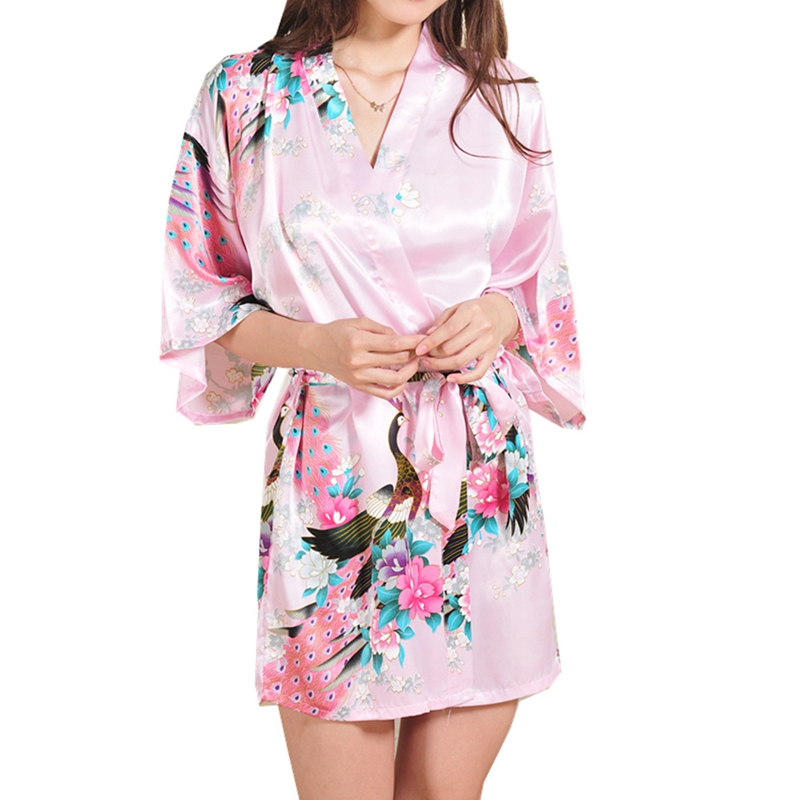 Silk Satin Wedding Bride Bridesmaid Robe Floral Bathrobe Short Kimono Robe Night Robe Bath Robe Fashion Dressing