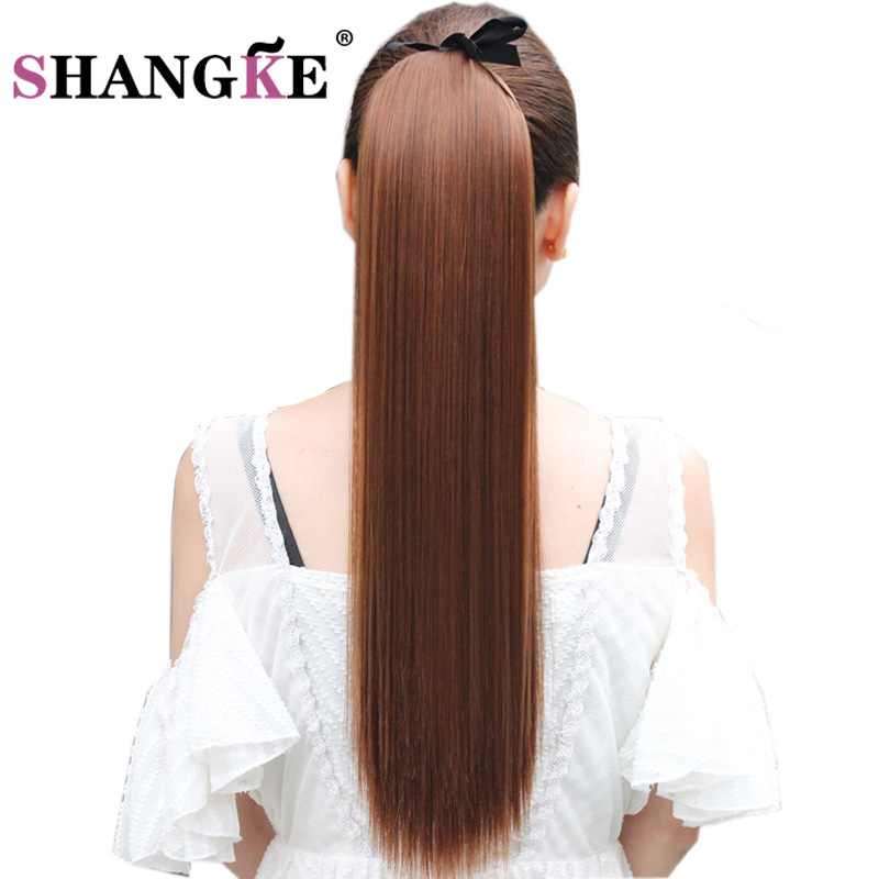 "SHANGKE Hair 22"" Long Straight Ponytails Clip In Ponytail Drawstring Synthetic Pony Tail Heat Resistant Fake Hair Extensions"