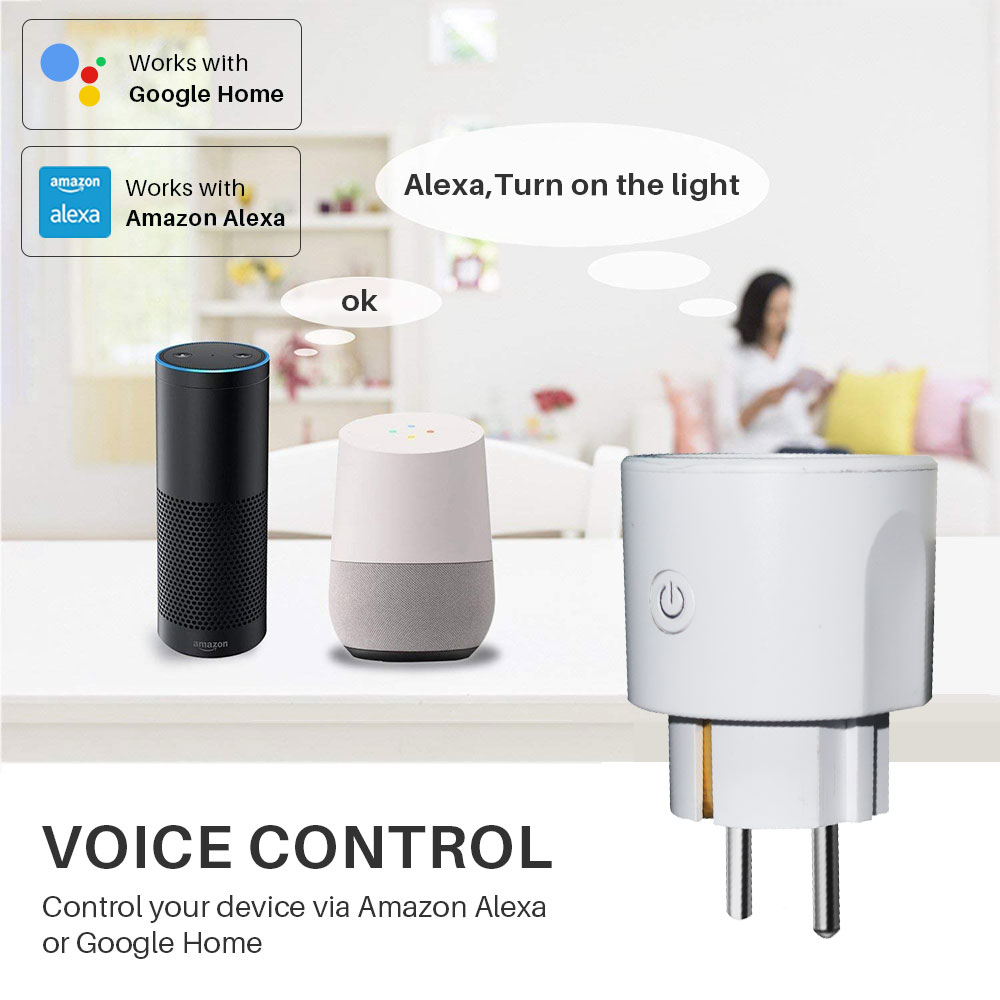 Image 4 - Smart WiFi Plug EU WiFi Socket 16A With Timing APP Control,Compatible Alexa Google Home Mini IFTTT Voice Intelligent Control-in Smart Power Socket Plug from Consumer Electronics