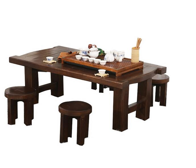 Antique Low Table Kongfu Tea Table Set With 4 Stool Traditional Asia Furniture Living Room Solid Wood Tea Table Legs Foldable solid pine wood folding round table 90cm natural cherry finish living room furniture modern large low round coffee table design