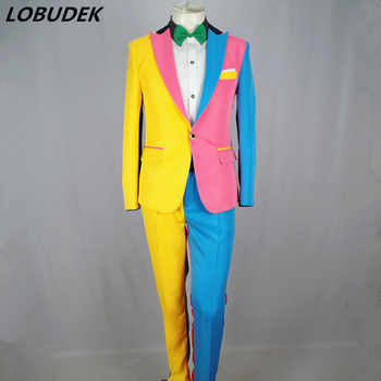 Irregular Colorful Men\'s Suits Magician Clown Performance Stage Outfits Nightclub Male Singer Host Blazers Pants Suit DS Costume - DISCOUNT ITEM  35 OFF Men\'s Clothing