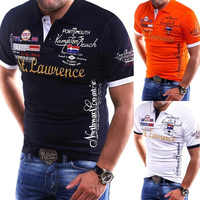 Zogaa a estrenar camisa de Polo para hombre Slim Fit camisa de manga corta Polos de algodón estampado de moda casual para hombre ropa