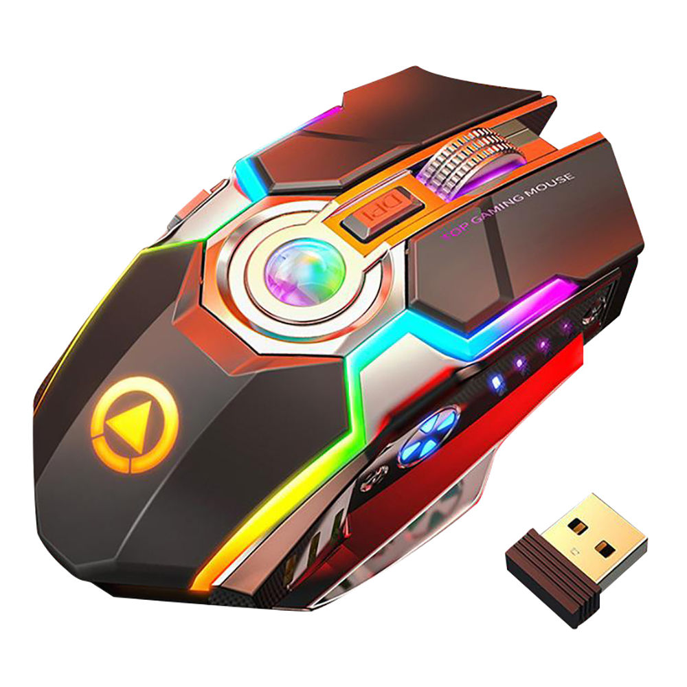 Wireless Gaming Mouse Rechargeable Gaming Mouse Silent Ergonomic 7 Keys RGB Backlit 1600 DPI mouse for Laptop Computer Pro Gamer image
