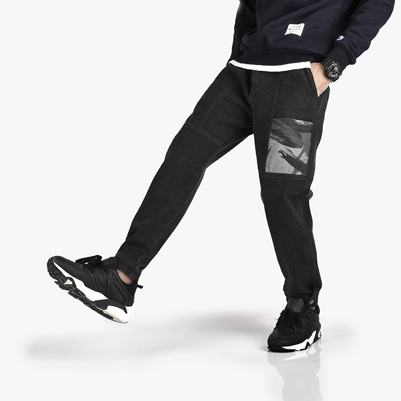 Jogger Trousers Pant Jeans Japan-Style Plus-Size Mens Fashion Pencil Thicken Pattern
