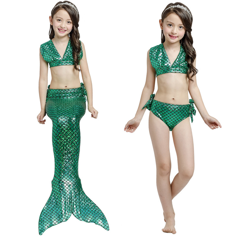 Halloween Party The Little Mermaid Tail Cosplay Costume Baby Kids Girls Bikini Bathing Suit Beach Dress Sea-maid Swimsuit