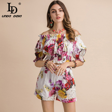 цена на LD LINDA DELLA Casual Holiday Summer Suits Women's lantern Sleeve Slash neck Short T-shirt+Floral Print Shorts Two Pieces Set