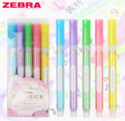 5pcs/set Color Japan Zebra KIRARICH Shiny Pearl Pen Set WKS18 color Highlighter Pen markers pen school suppliesHighlighters   -