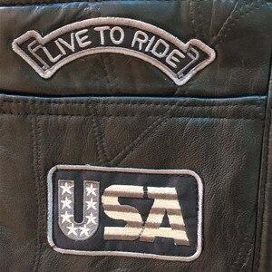 Image 2 - Letter Embroidery Motorcycle Leather Vest Men Spring New Fashion Punk Sleeveless Jacket V Neck Plus Size Waistcoats YT50106