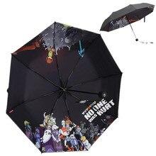 Черный Аниме Undertale Зонт тройной складной неавтоматический Зонт Мультфильм ветрозащитный складной зонт от дождя и солнца
