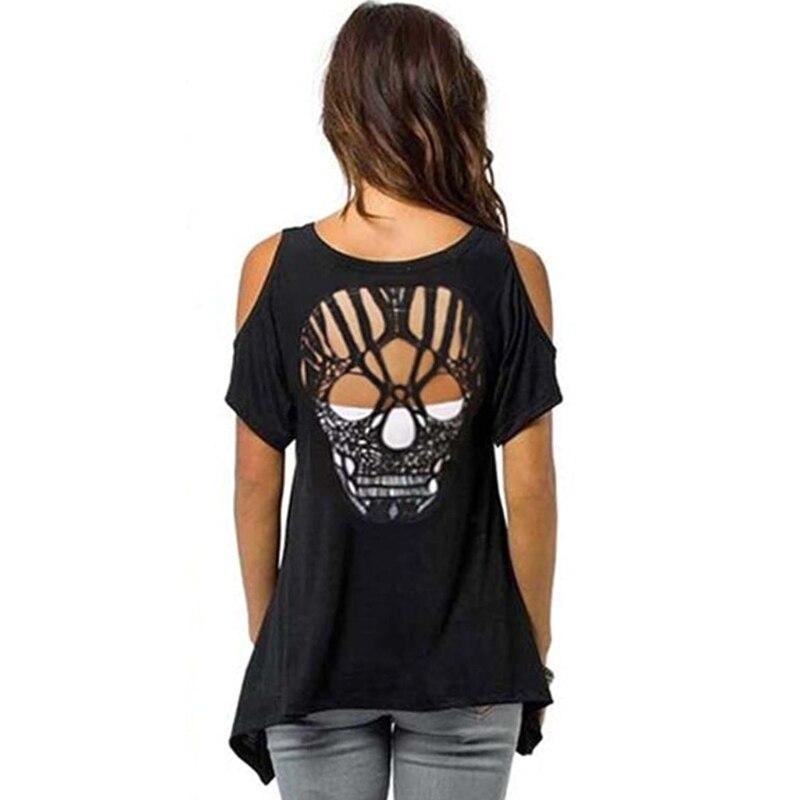 Frauen Cold Shoulder Kurzarm T-Shirt Schnitt Hohlen Schädel Backless Casual