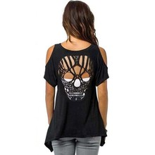 Vrouwen Koude Schouder Korte Mouw T-Shirt Cut Hollow Schedel Backless Casual(China)