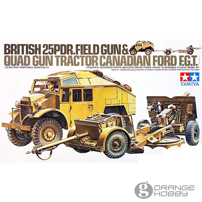 OHS Tamiya 35044 1/35 British 25PDR.Field Gun and Quad Gun Tractor Canadian FGT Military Assembly AFV Model Building Kits oh 1 35 assembly model e 100 frederick scher type containing metal gun turret