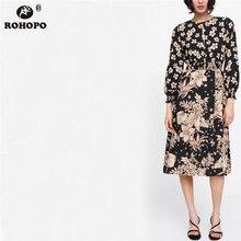 ROHOPO Women Autumn Long Sleeve Floral Maxi Dress Lantern Vintage Top Slit Slim Body Black Printed Pleated #UK9035