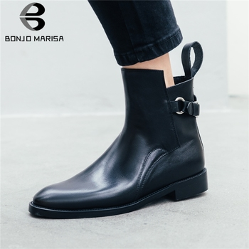 BONJOMARISA New Genuine Cow Leather Booties Ladies Chunky Heels Ankle Chelsea Boots Women 2020 Fashion Black Shoes Woman
