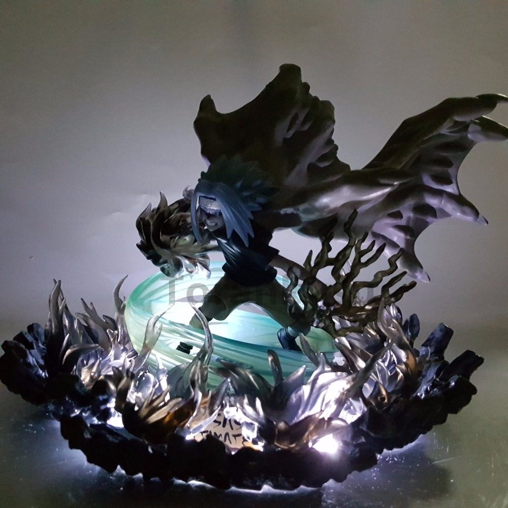 Naruto Sasuke PVC Action Figures Anime Naruto Shippuden Uchiha Sasuke Amaterasu Led Lighting Model Toy Figurine Diorama
