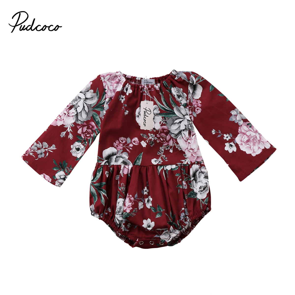 Pudcoco Infant Baby Girls Cotton Floral   Romper   Long Sleeve Cotton Jumpsuit Outfits Winter Spring Baby Clothing