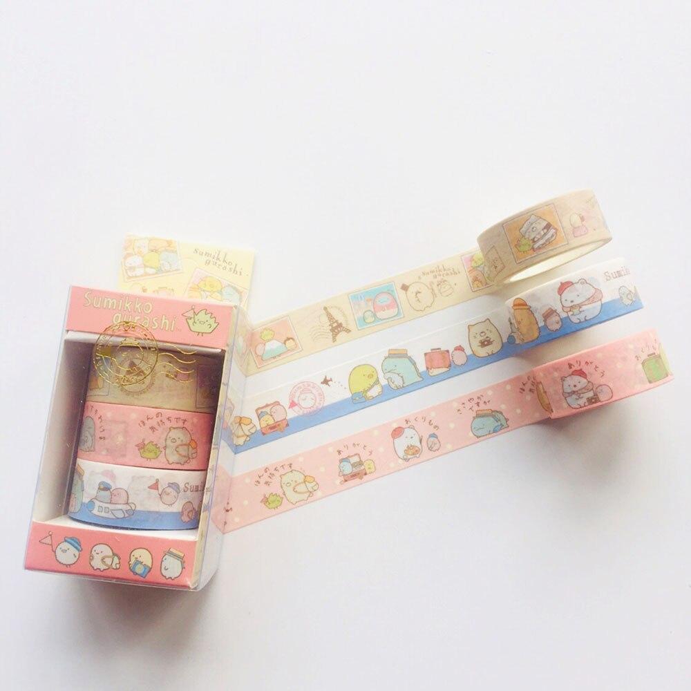 3 Rolls /Box Gift Box Sumikko Gurashi Masking Tape Album Scrapbooking Decor Washi Tape Stick Label