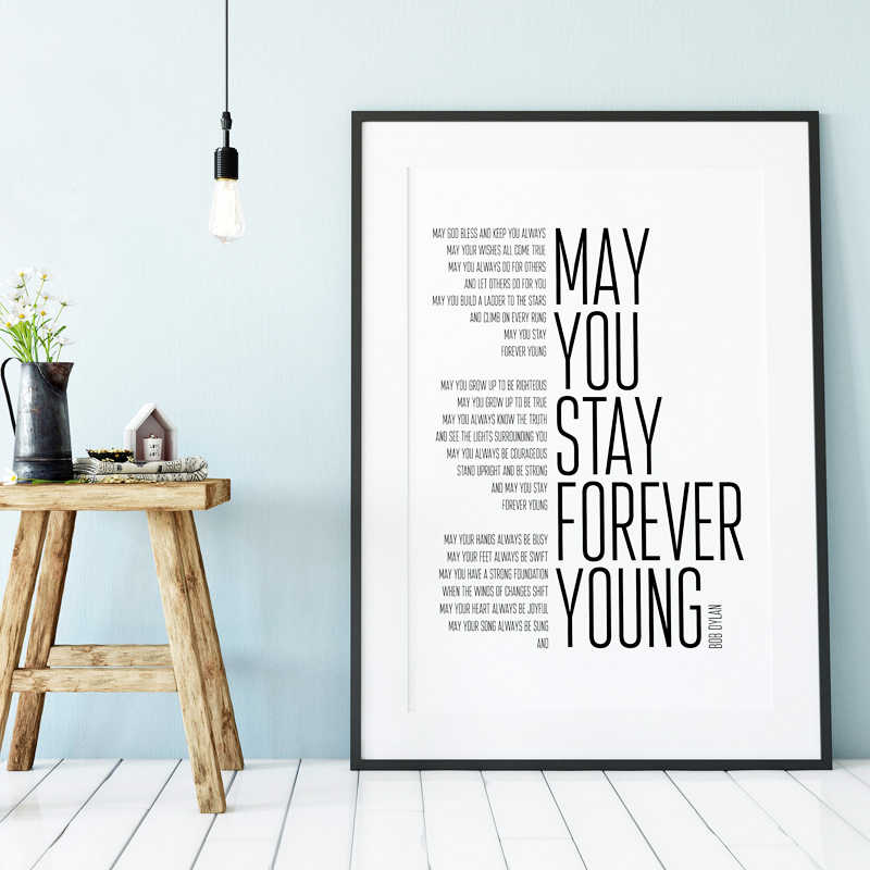 Bob Dylan Forever Young Song Lyrics Poster Art Painting