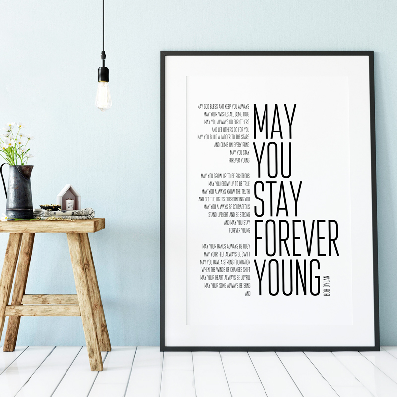 Bob Dylan Forever Young Song Lyrics Poster Art Painting , Black And White Lyrics Canvas Art Print Home Music Poster Wall Decor