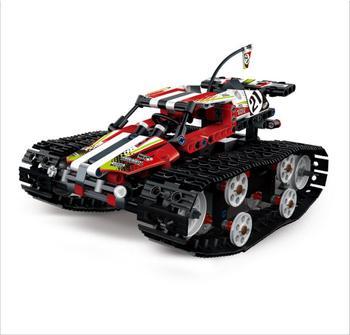 Conjunto de bloques de construcción 2,4 GH Control remoto eléctrico de alta velocidad juguetes de vehículos rastreados para niños