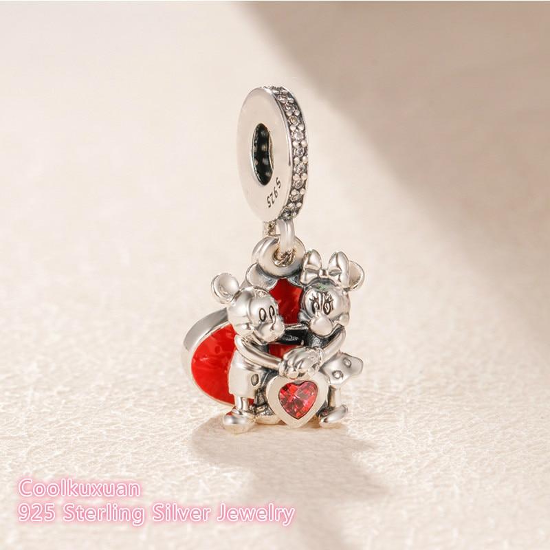 2019 Valentine's Day 925 Sterling Silver Minnie & Mickey With Love Charm Beads Fit Original Pandora Charms Bracelet DIY Jewelry