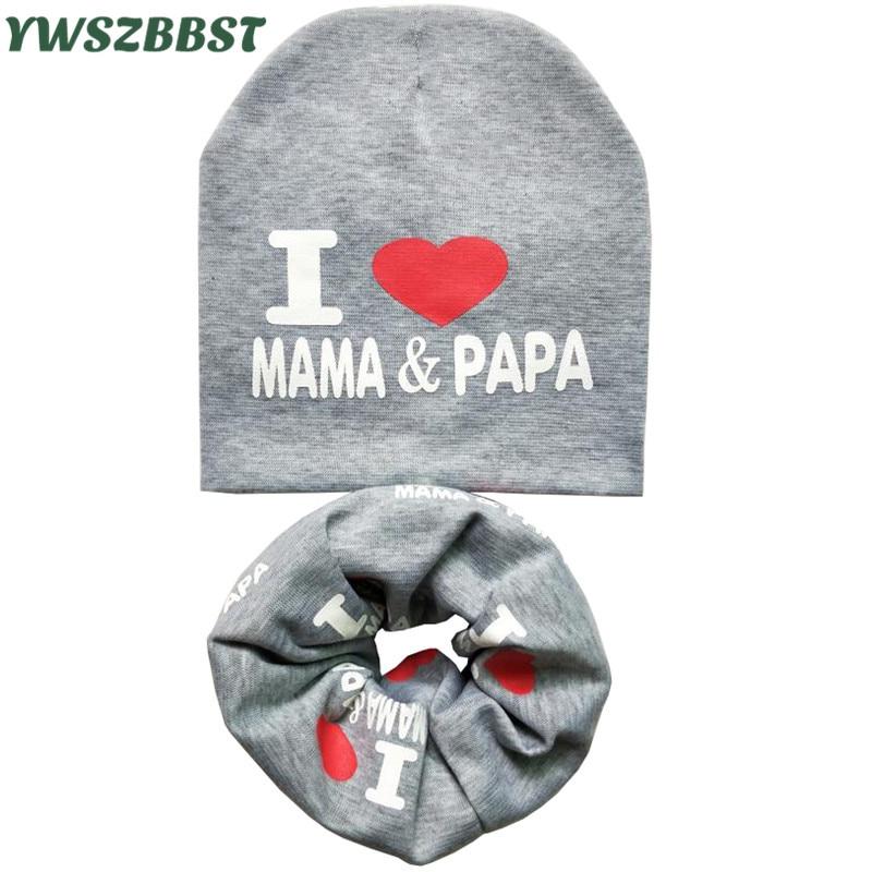 Autumn Winter Crochet Baby Hat Set MAMA PAPA Print Children Hats Boys Girls   Skullies     Beanies   Cap Scarf Collar Cotton Kids Hat