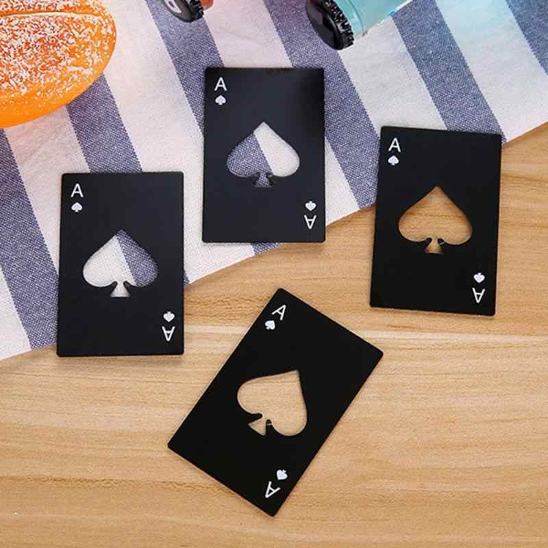 Czarne karty do pokera piwa butelka otwieracz spersonalizowana karta kredytowa ze stali nierdzewnej otwieracz do butelek karta pik narzędzie barowe