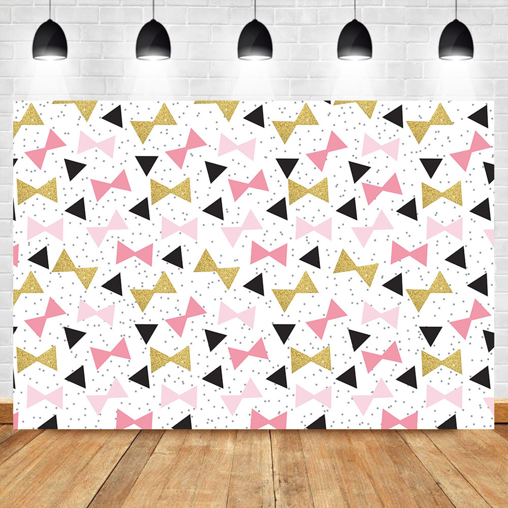 Camera & Photo Background Neoback Cute Bow Pattern Background Kids Birthday Party Dessert Table Banner Decoration Photo Backdrop