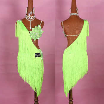 Latin Dance Dresses For Ladies Elegant Neon Green Thick Fringe Skirt Women Stage Ballroom Compete Costumes Latin Dress - DISCOUNT ITEM  0% OFF All Category