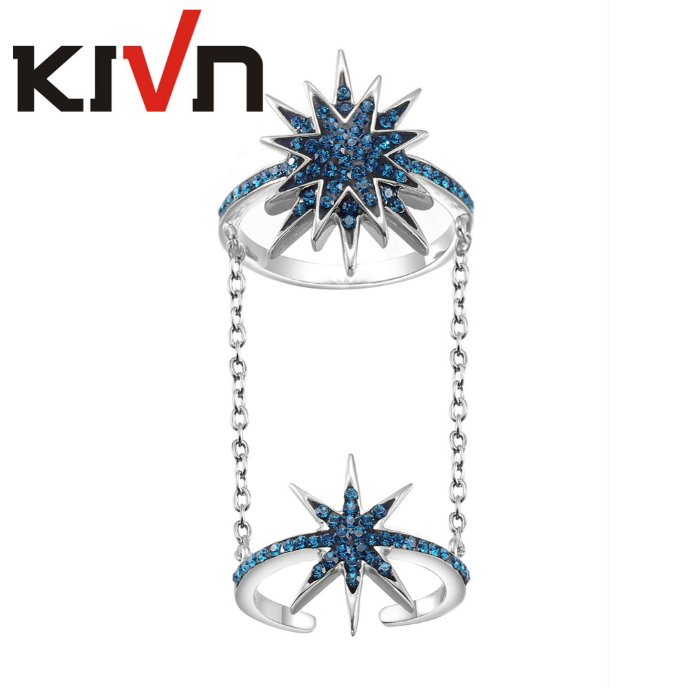 KIVN Fashion Jewelry Linked Chain Elegant Sparkling Pave Crystal Star Rings for Women