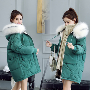 Image 4 - 2020 fur Hooded Parka casaco feminino female jacket Coat plus size winter jacket women Casual Down Cotton Long Padded Parkas