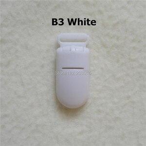 Image 3 - (5 cores misturadas) dhl 1000 pçs 1.5 cm kam marca chupeta de plástico bebê manequim suporte de corrente clipes para 15mm fita suspender clipes