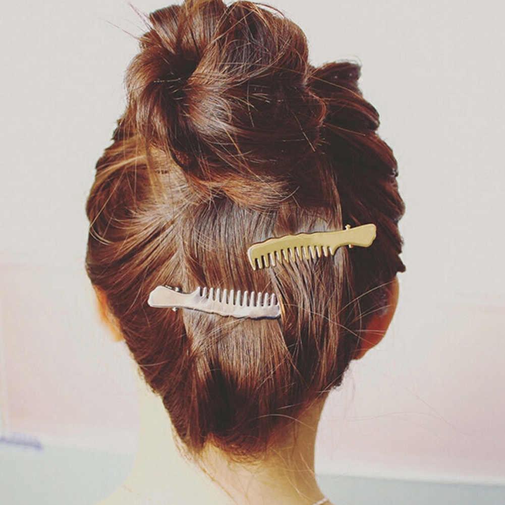 Украшения для волос Новая мода цвета: золотистый, Серебристый покрытием гребень для волос в форме Заколки для волос для Для женщин ювелирные Интимные аксессуары pinzas де Pelo