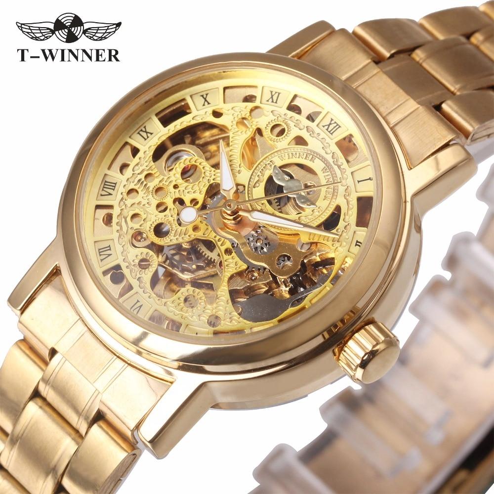 WINNER Women Golden Automatic Mechanical Watch Stainless-steel Band Formal Skeleton Retro Dial Wristwatch Rome Fashion +BOX 038