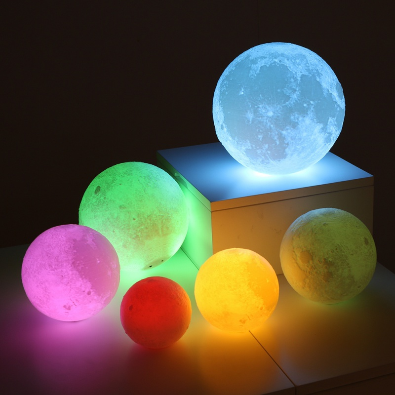 New Light LED 3D Printing Moon Lamp Warm and Cool White Dimmable Touch Control Brightness with USB Charging Home Decoration
